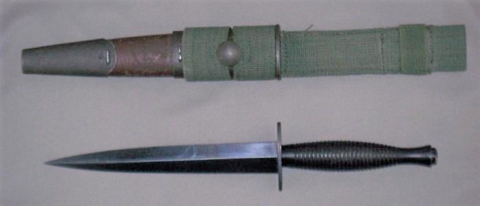 Fairbairn Sykes dagger with Orange Arsenal scabbard
